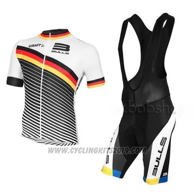 2015 Cycling Jersey Bulls White and Black Short Sleeve and Bib Short