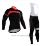 2015 Cycling Jersey Castelli Red and Black Long Sleeve and Bib Tight