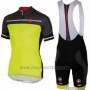 2016 Cycling Jersey Castelli Yellow and Gray Short Sleeve and Bib Short