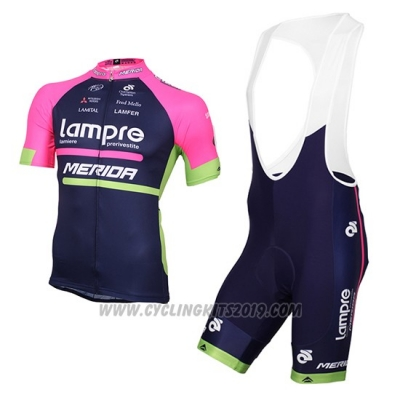 2016 Cycling Jersey Lampre Blue and Pink Short Sleeve and Bib Short