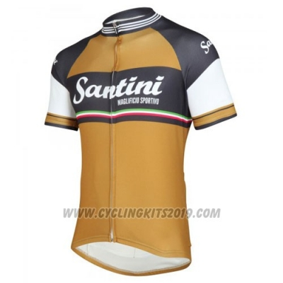 2016 Cycling Jersey Santini Gray and Yellow Short Sleeve and Bib Short
