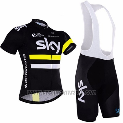 2016 Cycling Jersey Sky Yellow and Black Short Sleeve and Bib Short