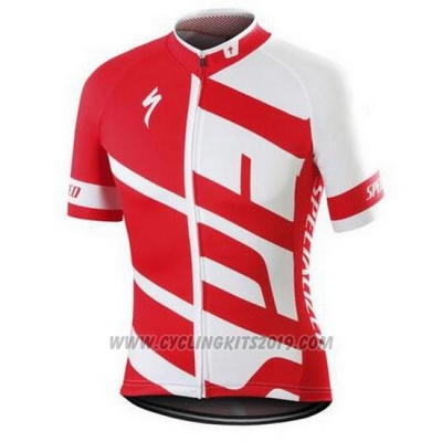 2016 Cycling Jersey Specialized White and Red Short Sleeve and Bib Short