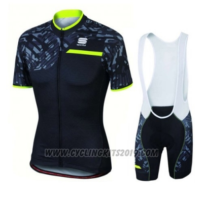 2016 Cycling Jersey Sportful Green and Black Short Sleeve and Bib Short