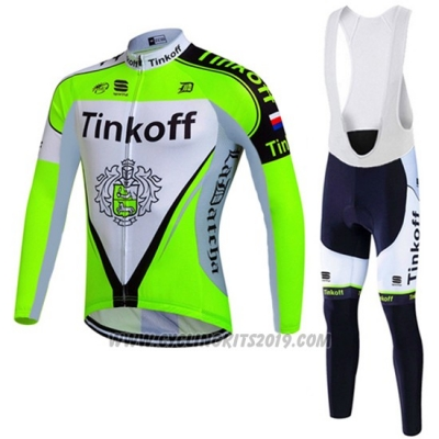 2016 Cycling Jersey Tinkoff Green and Black Long Sleeve and Bib Tight