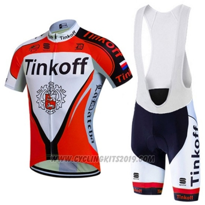 2016 Cycling Jersey Tinkoff Red and White Short Sleeve and Bib Short