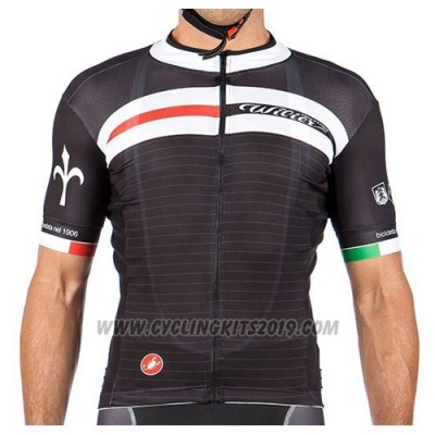 2016 Cycling Jersey Wieiev Marron and White Short Sleeve and Bib Short