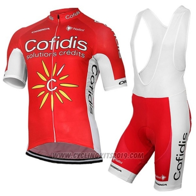 2017 Cycling Jersey Cofidis Red Short Sleeve and Bib Short