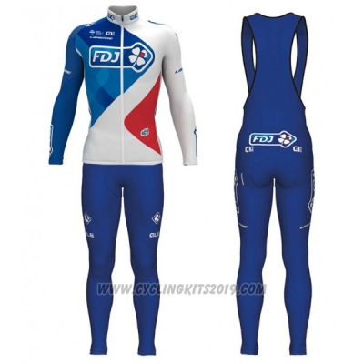 2017 Cycling Jersey FDJ Blue and White Long Sleeve and Bib Tight