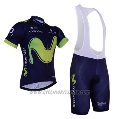 2017 Cycling Jersey Movistar Black Short Sleeve and Bib Short