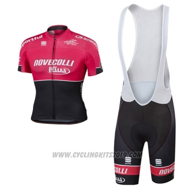 2017 Cycling Jersey Nove Colli Red and Black Short Sleeve and Bib Short