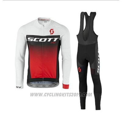 2017 Cycling Jersey Scott White and Red Long Sleeve and Salopette