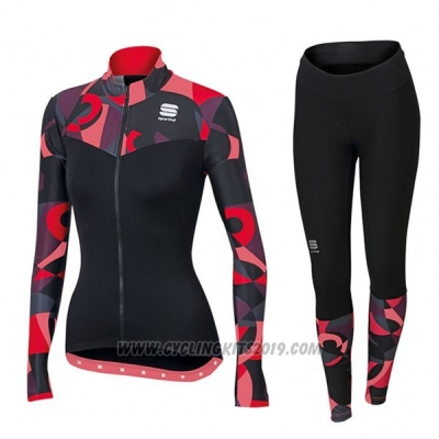 2017 Cycling Jersey Sportful Primavera Black and Red Long Sleeve and Bib Tight