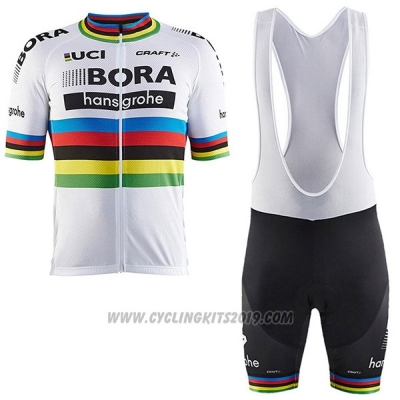 2017 Cycling Jersey UCI Mondo Campione Bora White Short Sleeve and Bib Short