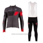 2017 Cycling Jersey Wieiev Black and Gray Long Sleeve and Bib Tight