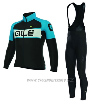 2017 Cycling Jersey Women ALE Black and Blue Long Sleeve and Bib Tight
