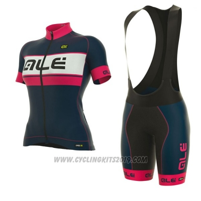 2017 Cycling Jersey Women ALE Graphics Prr Bermuda Pink and Dark Blue Short Sleeve and Bib Short