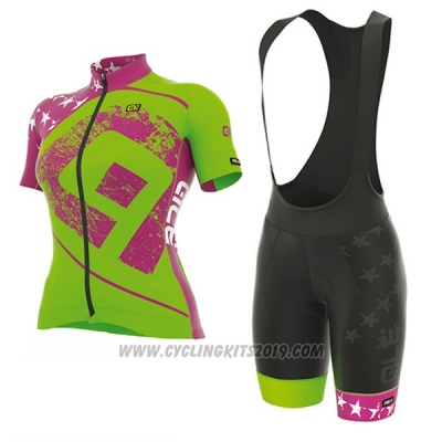 2017 Cycling Jersey Women ALE Graphics Prr Star Green Short Sleeve and Bib Short
