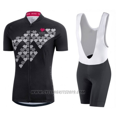 2017 Cycling Jersey Women Gore Element Digi Black Short Sleeve and Bib Short