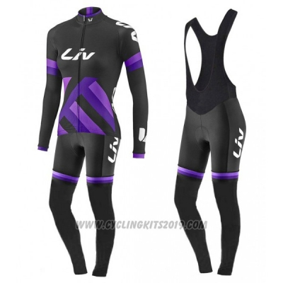 2017 Cycling Jersey Women Liv Black and Purple Long Sleeve and Bib Tight