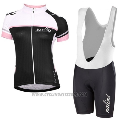 2017 Cycling Jersey Women Nalini White and Black Short Sleeve and Bib Short