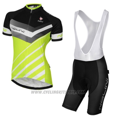 2017 Cycling Jersey Women Nalini Zebrana Green and Black Short Sleeve and Bib Short