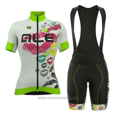 2018 Cycling Jersey ALE White and Green Short Sleeve and Bib Short