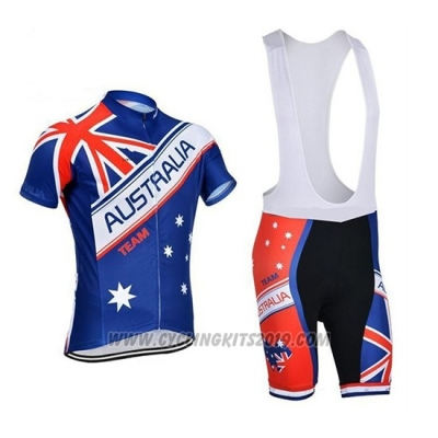 2018 Cycling Jersey Australia Blue and Red Short Sleeve and Bib Short