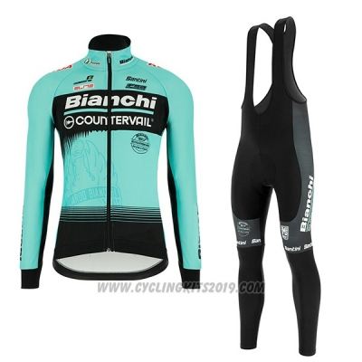 2018 Cycling Jersey Bianchi Blue Long Sleeve and Bib Tight
