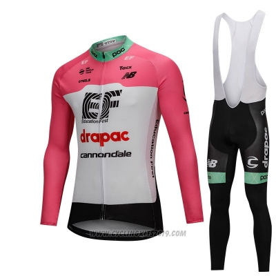2018 Cycling Jersey Cannondale Drapac White and Pink Long Sleeve and Bib Tight
