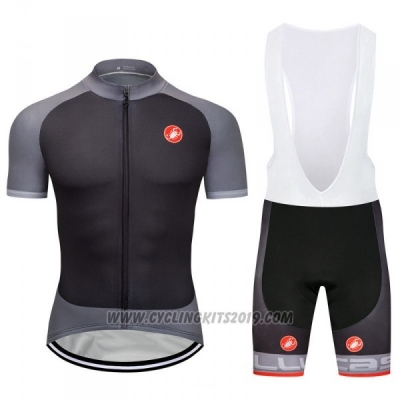 2018 Cycling Jersey Castelli Gray Short Sleeve and Bib Short