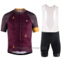 2018 Cycling Jersey Craft Monument Dark Red Short Sleeve and Bib Short