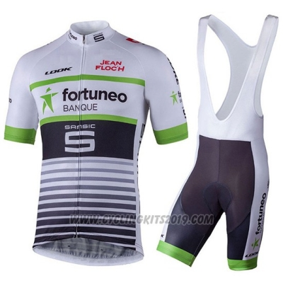 2018 Cycling Jersey Fortuneo Samsic White Short Sleeve and Salopette