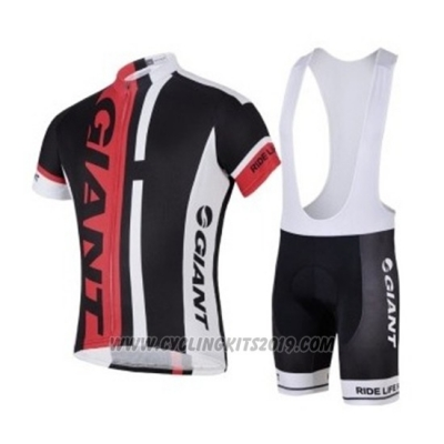 2018 Cycling Jersey Giant Black Red Short Sleeve and Bib Short