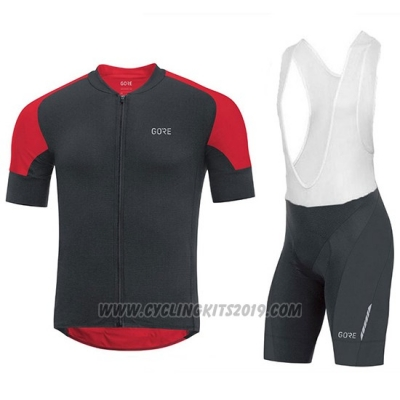 2018 Cycling Jersey Gore C7 CC Black and Red Short Sleeve and Bib Short