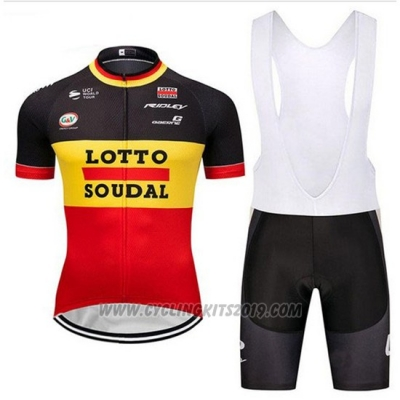 2018 Cycling Jersey Lotto Soudal Black Yellow Red Short Sleeve and Bib Short