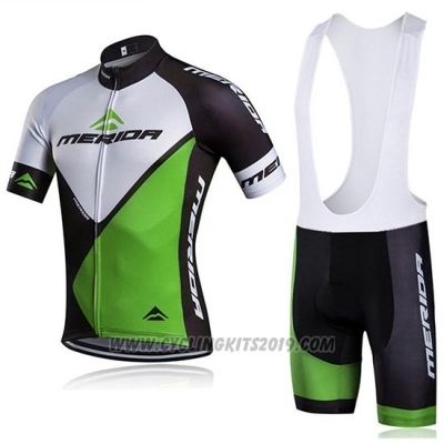 2018 Cycling Jersey Merida Black and Green Short Sleeve and Bib Short