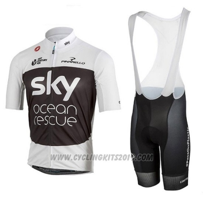 2018 Cycling Jersey Sky White Black Short Sleeve and Bib Short