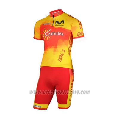 2018 Cycling Jersey Spain Confidis Orange Short Sleeve and Bib Short
