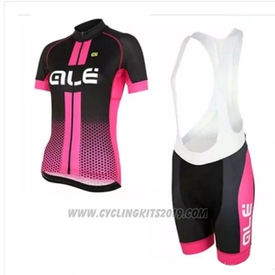 2018 Cycling Jersey Women ALE Pink Short Sleeve and Bib Short