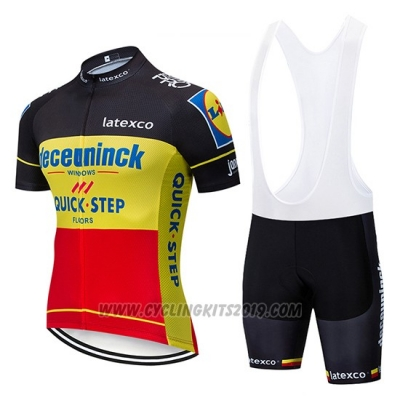 2019 Cycling Jersey Deceuninck Quick Step Black Yellow Red Short Sleeve and Bib Short