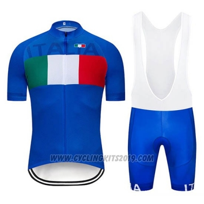 2019 Cycling Jersey Italy Blue Short Sleeve and Bib Short