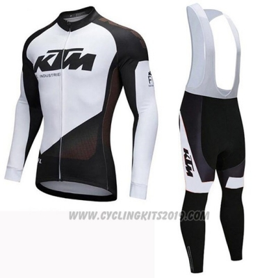 2019 Cycling Jersey Ktm Black White Long Sleeve and Bib Tight