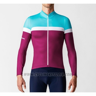 2019 Cycling Jersey La Passione Blue White Red Long Sleeve and Bib Tight
