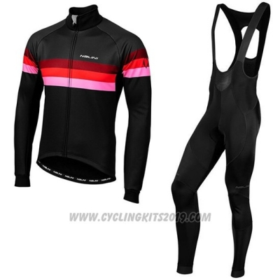 2019 Cycling Jersey Nalini Warm 2.0 Black Red Long Sleeve and Bib Tight