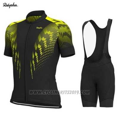 2019 Cycling Jersey Rapha Black Yellow Short Sleeve and Bib Short