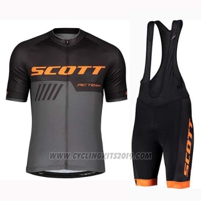 2019 Cycling Jersey Scott Black Gray Short Sleeve and Bib Short