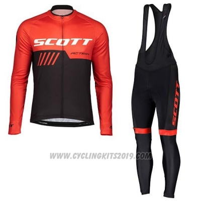 2019 Cycling Jersey Scott Black Red Long Sleeve and Bib Tight