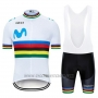 2019 Cycling Jersey UCI World Champion Movistar White Short Sleeve and Bib Short