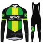 2020 Cycling Jersey Brazil Black Green Long Sleeve and Bib Tight